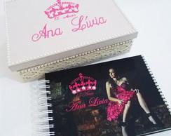 Caderno com caixa bordada