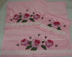 Jogo toalha banho e rosto e lavabo rosas