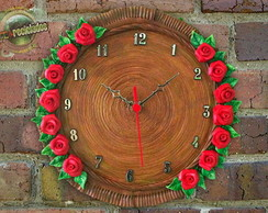 RED ROSES CLOCK - Rel�gio