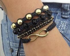 Kit pulseiras infinito e strass