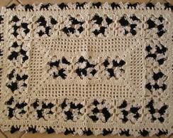 Tapete de croch� Flor Preta