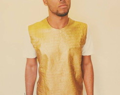 T-shirt gold leather