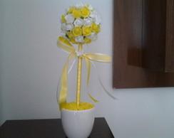 Centro De Mesa amarelo e branco
