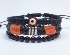 Kit pulseiras couro, �nix e olho grego