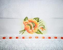Toalha de lavabo, pintada � m�o,