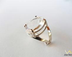 Anel de cristal de rocha em prata n� 19
