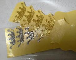 56 adesivos glitter coroa