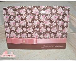 Convite marrom e rosa floral
