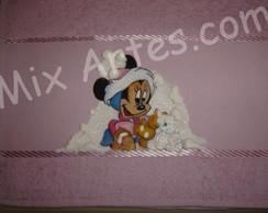 """Toalha de m�o infantil """"Minnie na neve"""""""