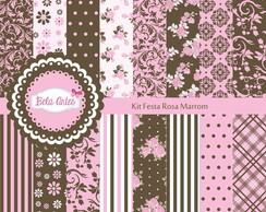 Kit Festa Rosa Marrom - Papel Digital