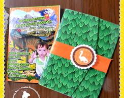 Convite em Envelope Especial Dinossauros