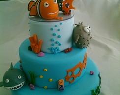 Bolo Procurando Nemo cenogr�fico