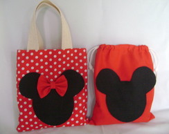 sacola minnie e mickey ( 30 x 30 )
