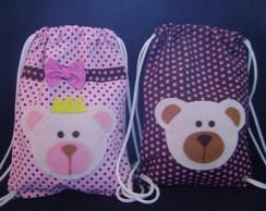 mochila infantil ursinha rosa e marrom