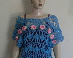 Blusa crochet grampo flores Ana Maria