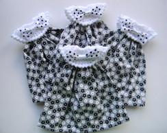 Lembrancinha vestido flor branca e preta