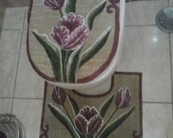 jogo tapete de banheiro em juta pintado