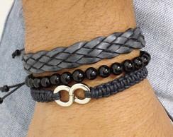Kit pulseiras com �nix, couro e infinito