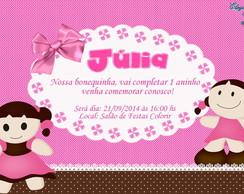 Convite Digital BONECA rosa e marrom