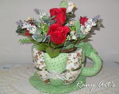 X�cara de tecido c/ flores
