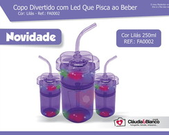 Copo Divertido com Led Lil�s 260ml