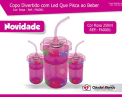 Copo Divertido com Led Rosa 260ml
