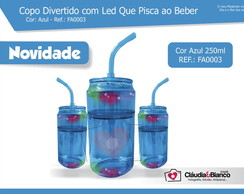 Copo Divertido com Led Azul 260ml