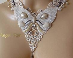 Colar Gargantilha Victorian Butterfly