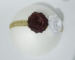 Faixa BLUSH luxo ROCOC� branco/marrom