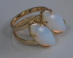 Anel regul�vel - pedra opalina