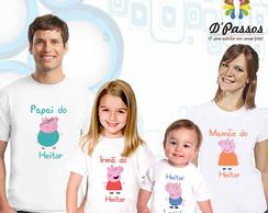 Kit 4 camisetas- fam�lia peppa