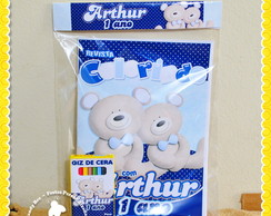 Kit Colorir Ursos Azul e Branco