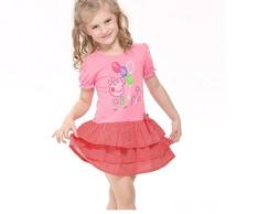 Vestido Peppa Pig Babado Rosa E Vermelho