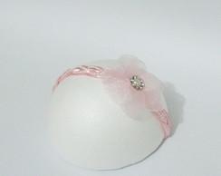 Faixa PRINCESA YARA rosa c/flor 7cm rosa