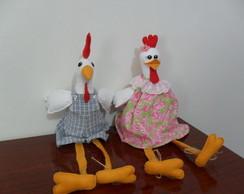 galo e galinha em feltro