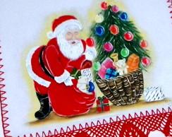 Pano de copa de natal pintado a m�o