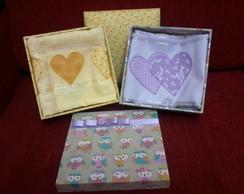 Kit caixa forrada em tecido e toalha