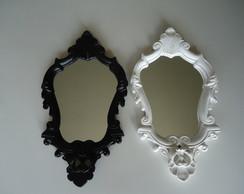 Duo Espelhos em Resina - Preto e Branco