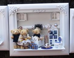 Trio De Quadros Beb� Fam�lia Ursos