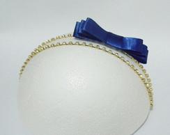 Faixa MARI strass c/la�o azul royal
