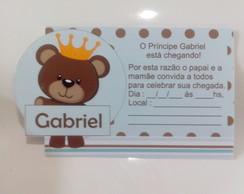 Convite ch� de Beb� Urso Principe