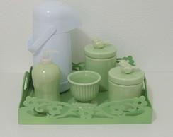 Kit Flores e Passarinhos Verde Beb�