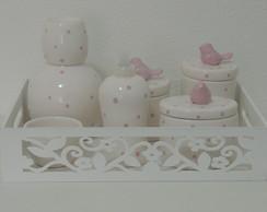 Kit Passarinhos Branco e Po� Rosa Beb�