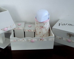 Kit Higiene Passa Fita Floral Off White