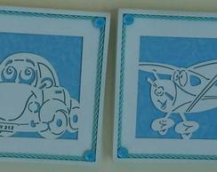 Dupla de Quadrinhos - Fusca e Avi�o Azul