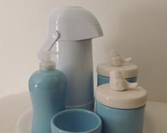 Kit Azul Beb� e Branco Passarinhos