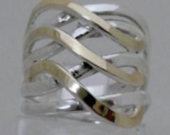 Anel Prata 925 e Ouro Filetes - A1233