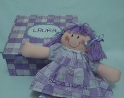 Kit boneca de pano com caixa em mdf
