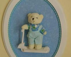 Quadrinho Oval Azul- Ursinho no Patinete