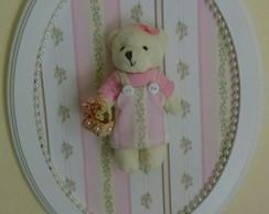 Quadrinho Oval Rosa Floral - Ursinha
